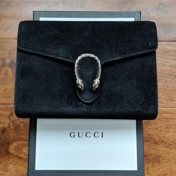 91e3d656b1b Gucci Handbags - Gucci Dionysus black suede mini chain bag
